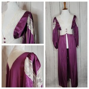 Vintage Eggplant and lace silky robe